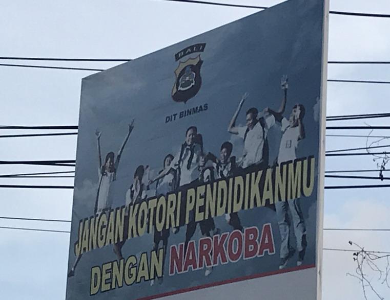 Bali kábszer ellenes plakát